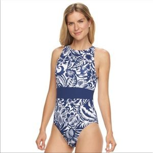 Chaps blue white Hawaii floral one piece swimsuit